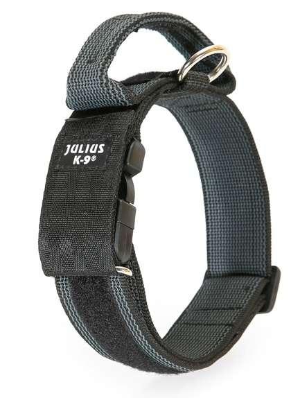 Julius K9 Powerhalsband mit Haltegriff, Sicherheitsverschluss, Logofeld, 5cm, 49-70 cm, schwarz